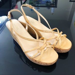 Prada nude patent leather cork platform sandal